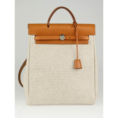 Hermes 30cm Natural/ Brown Toile and Leather 2-in-1 Herbag Backpack/Bag