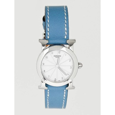 Hermes Blue Jean Leather and Stainless Steel Heure H Ronde PM Quartz Watch