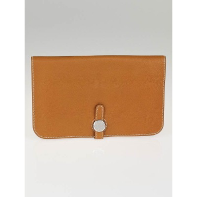 Hermes Gold Togo Leather Dogon GM Wallet