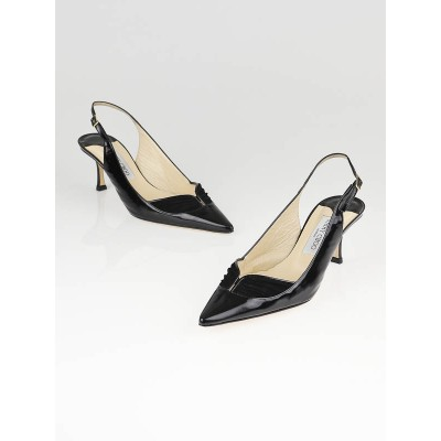 Jimmy Choo Black Patent Leather Jarvis Slingback Pointed Toe Pumps Size 9/39.5