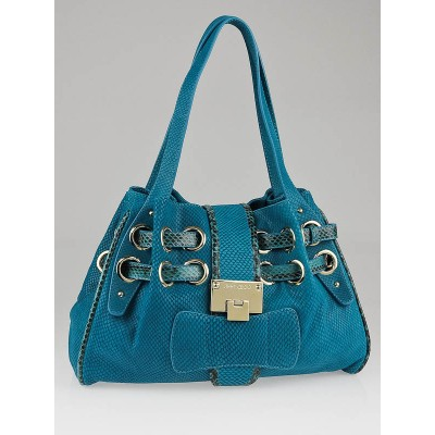 Jimmy Choo Turquoise Snakeskin Embossed Suede Mini Riki Bag