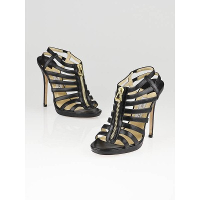 Jimmy Choo Black Leather Glenys Cage Gladiator Heels Size 8.5/39