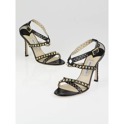 Jimmy Choo Black Leather Studded Inga Strappy Sandals Size 9/39.5