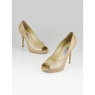 Jimmy Choo Nude Patent Leather Luna Peep-Toe Pumps Size 9.5/40