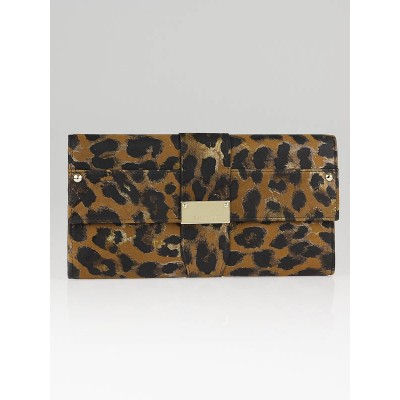 Jimmy Choo Leopard Print Leather Clutch Bag