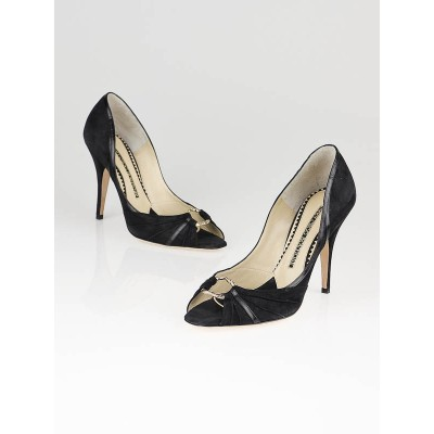 Jimmy Choo Black Suede Simone Peep Toe Pumps Size 8.5/39