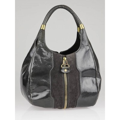 Jimmy Choo Steel Liquid Patent Leather Mandah Medium Shoulder Bag