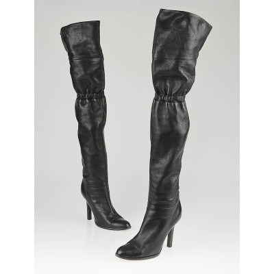 Jimmy Choo Black Leather 24:7 Jump Over-the-Knee Boots Size 6.5/37