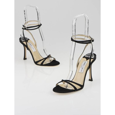 Jimmy Choo Black Satin Smooth Strappy Sandals Size 7.5/38
