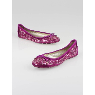 Jimmy Choo Fuchsia Satin and Crystal-Embellished Weber Ballet Flats Size 5.5/36