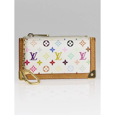 Louis Vuitton White Multicolore Canvas Key Chain and Change Holder
