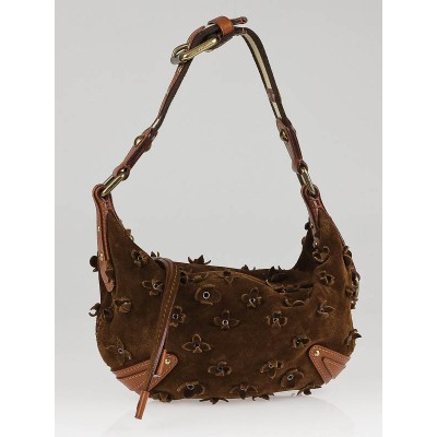 Louis Vuitton Limited Edition Brown Onatah Suede Fleurs PM  Bag