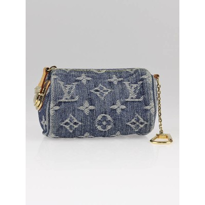 Louis Vuitton Blue Monogram Denim Speedy Pochette Clefs