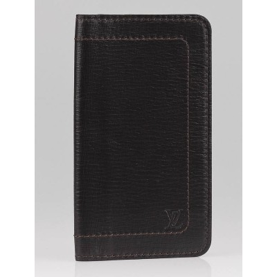 Louis Vuitton Coffee Utah Leather Checkbook Cover Wallet