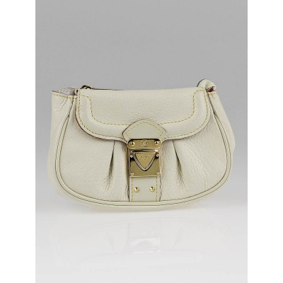 Louis Vuitton White Suhali Leather Small Pouch