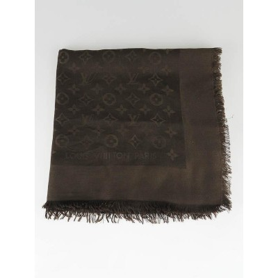Louis Vuitton Brown Silk/Wool Monogram Denim Shawl