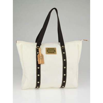 Louis Vuitton Cream Canvas Antigua Cabas GM Bag