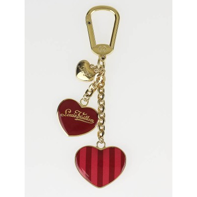 Louis Vuitton Red/Pink Striped Hearts Key Holder and Bag Charm