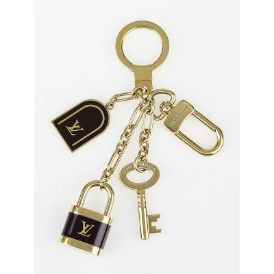 Louis Vuitton Black/Gold Key and Lock Key Holder and Bag Charm