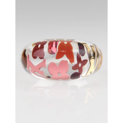 Louis Vuitton Tangerine Resin Inclusion Ring Size 53