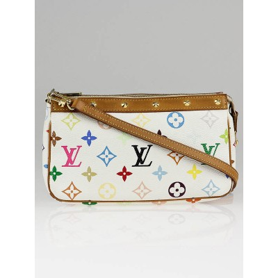 Louis Vuitton White Monogram Multicolore Accessories Pochette w/ Long Strap Bag