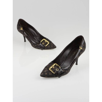 Louis Vuitton Brown Monogram Mini Lin Pumps Size 7.5/38