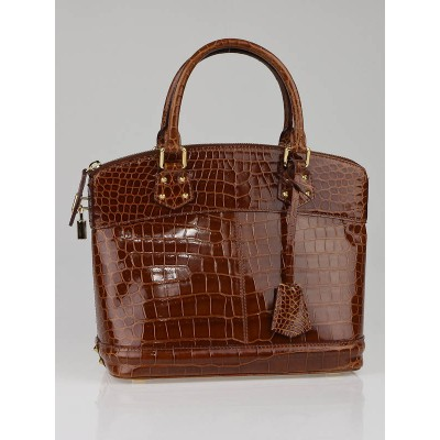 Louis Vuitton Limited Edition Marron Crocodile Lockit PM Bag