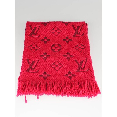 Louis Vuitton Fuchsia Wool/Silk Logo Mania Scarf
