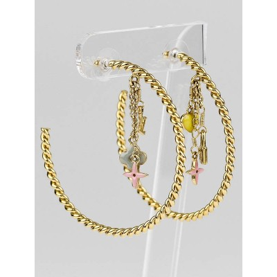 Louis Vuitton Gold/Multicolor Monogram Sweet Hoop Earrings