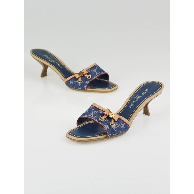 Louis Vuitton Blue Denim Monogram Denim Leather Bow Slide Mules Size 8.5/39