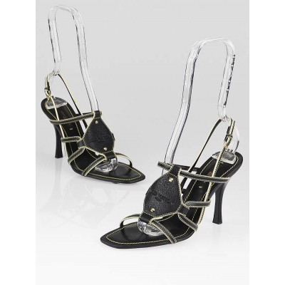 Louis Vuitton Black Suhali Leather Almond Strappy Sandals Size 6.5/37