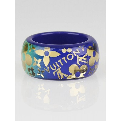 Louis Vuitton Bleu Tropical Resin Monogram Cocktail Ring Size 8