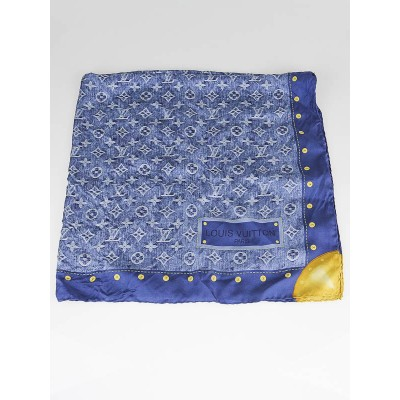 Louis Vuitton Blue Monogram Denim Silk Square Scarf