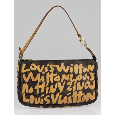 Louis Vuitton Limited Edition Beige Graffiti Stephen Sprouse Accessories Pochette Bag