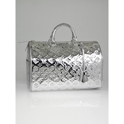 Louis Vuitton Limited Edition Silver Monogram Miroir Speedy 35 Bag