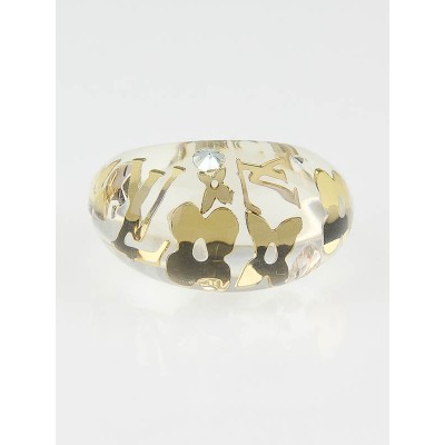Louis Vuitton Clear Resin Inclusion Ring Size 7 M