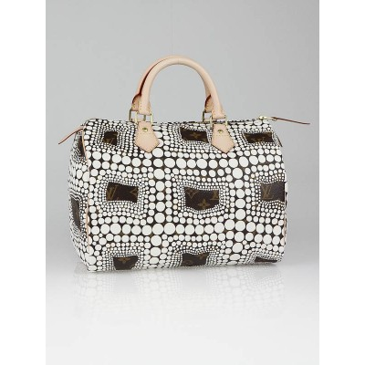 Louis Vuitton Limited Edition Yayoi Kusama White Monogram Town Speedy 30 Bag