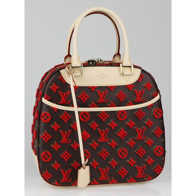Louis Vuitton Limited Edition Rouge Monogram Tuffetage Deauville Cube Bag