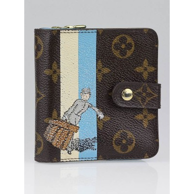 Louis Vuitton Limited Edition Blue Monogram Groom Compact Zippy Wallet