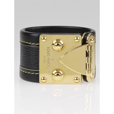 Louis Vuitton Black Suhali Leather Koala Bracelet