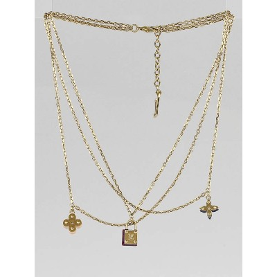 Louis Vuitton Goldtone Sweet Charms Tiered Necklace