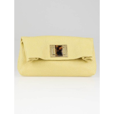Louis Vuitton Limited Edition Jaune Monogram Cuir Pochette Altair Clutch Bag