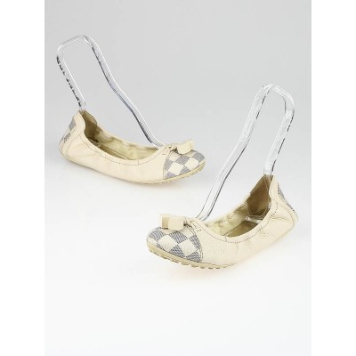 Louis Vuitton White Leather and Damier Azur Canvas Lovely Ballerina Flats Size 9.5/40