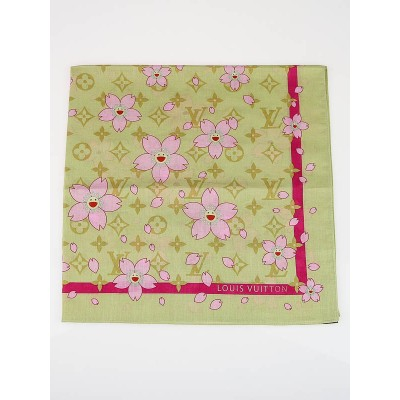Louis Vuitton Yellow Cherry Blossom Monogram Cotton Square Scarf