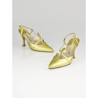 Manolo Blahnik Gold Leather Pointed Toe Slingbacks Size 8.5/39