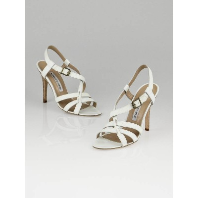 Manolo Blahnik White Leather Bulgaro Open Toe Strappy Sandals Size 6/36.5