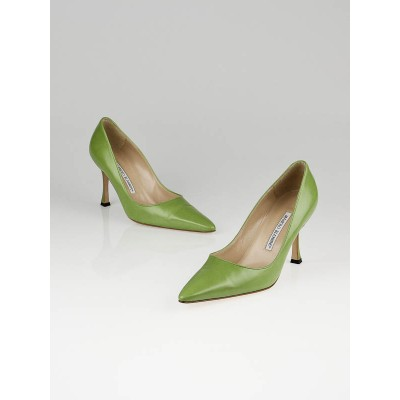 Manolo Blahnik Green Leather Tuccio Heels Size 8/38.5