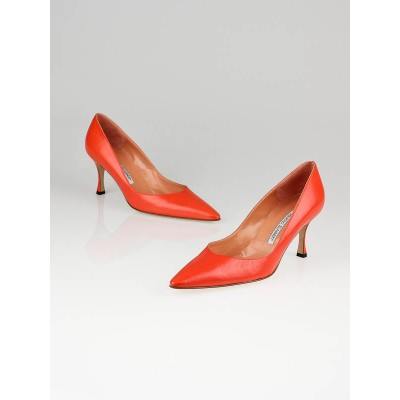 Manolo Blahnik Orange Leather Froda Heels Size 8/38.5