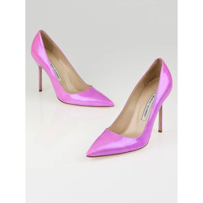 Manolo Blahnik Pink Shock Patent Leather BB Pumps Size 8.5/39