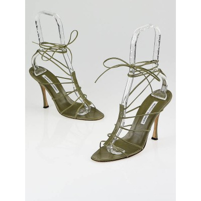 Manolo Blahnik Olive Leather Strappy Sandals Size 8/38.5